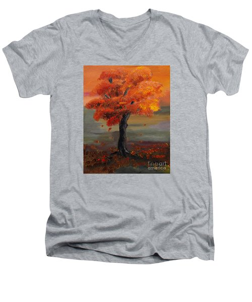Stand Alone In Color - Autumn - Tree Men's V-Neck T-Shirt by Jan Dappen