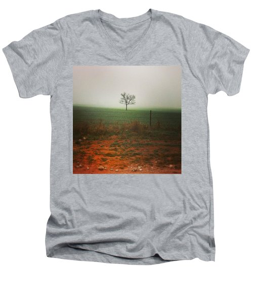 Standing Alone, A Lone Tree In The Fog. Men's V-Neck T-Shirt