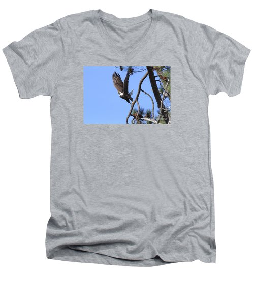 Men's V-Neck T-Shirt featuring the photograph Standing Eagle by Geraldine DeBoer