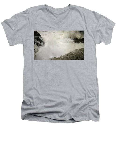 Standing On A Waterfall Men's V-Neck T-Shirt
