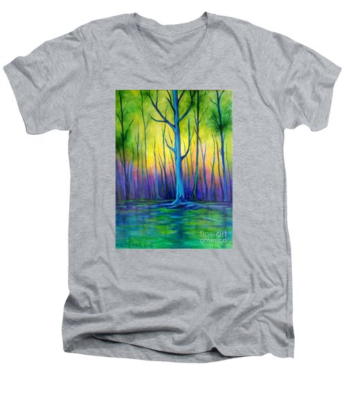 Men's V-Neck T-Shirt featuring the painting Standing Tall  by Alison Caltrider