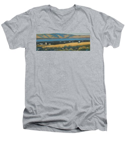 Men's V-Neck T-Shirt featuring the painting Stanford By The Bay by Gary Coleman