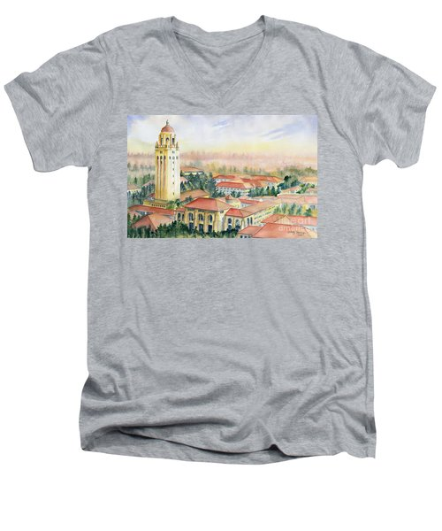 Stanford University California Men's V-Neck T-Shirt by Melly Terpening