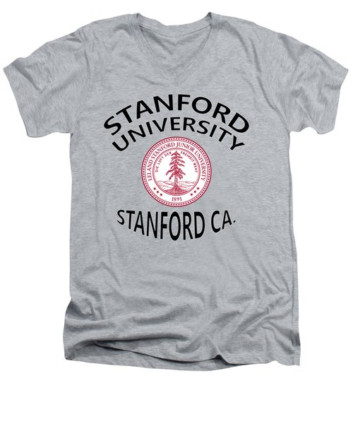 Men's V-Neck T-Shirt featuring the digital art Stanford University Stanford California  by Movie Poster Prints