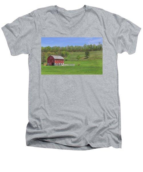 Men's V-Neck T-Shirt featuring the digital art Star And Moon Barn by Sharon Batdorf