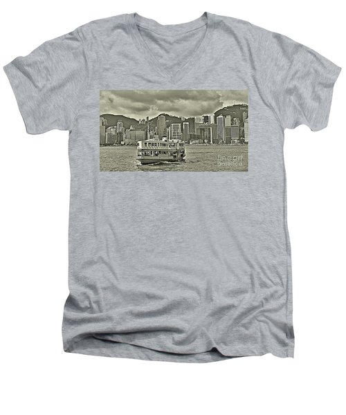 Star Ferry In Hong Kong Men's V-Neck T-Shirt