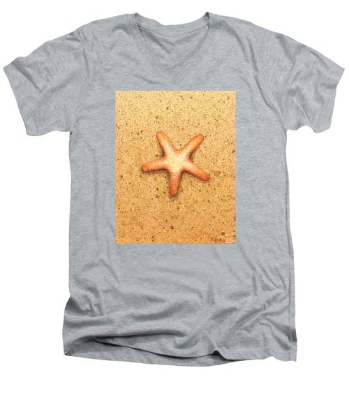 Men's V-Neck T-Shirt featuring the painting Star Fish by Katherine Young-Beck