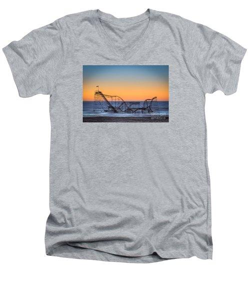 Star Jet Roller Coaster Ride  Men's V-Neck T-Shirt by Michael Ver Sprill