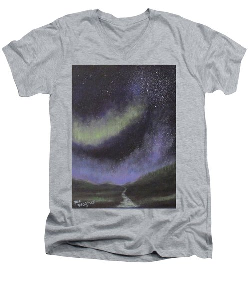 Men's V-Neck T-Shirt featuring the painting Star Path by Dan Wagner