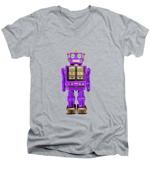 Men's V-Neck T-Shirt featuring the photograph Star Strider Robot Purple On Black by YoPedro