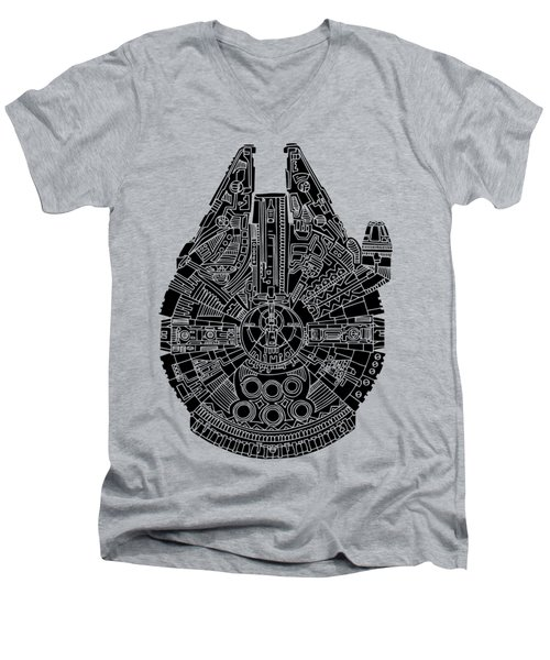 Star Wars Art - Millennium Falcon - Black Men's V-Neck T-Shirt