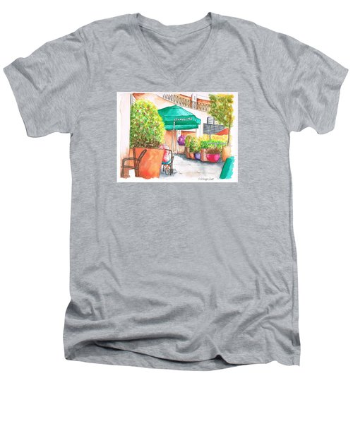 Starbucks Coffee, Sunset Blvd, And Cresent High, West Hollywood, Ca Men's V-Neck T-Shirt by Carlos G Groppa