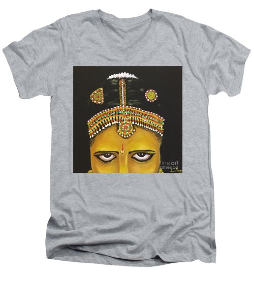 Men's V-Neck T-Shirt featuring the painting Stare by Brindha Naveen
