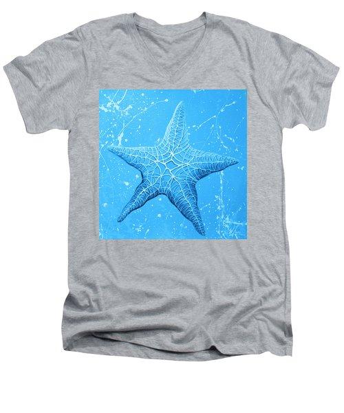 Starfish In Blue Men's V-Neck T-Shirt