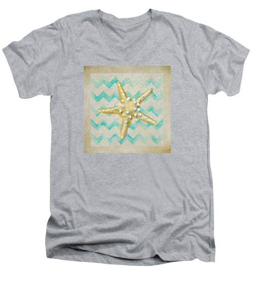 Starfish In Modern Waves Men's V-Neck T-Shirt by Sandi OReilly