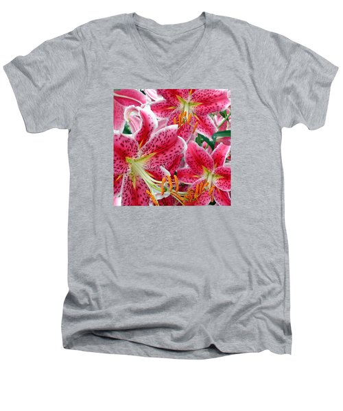 Stargazer Lilies Men's V-Neck T-Shirt