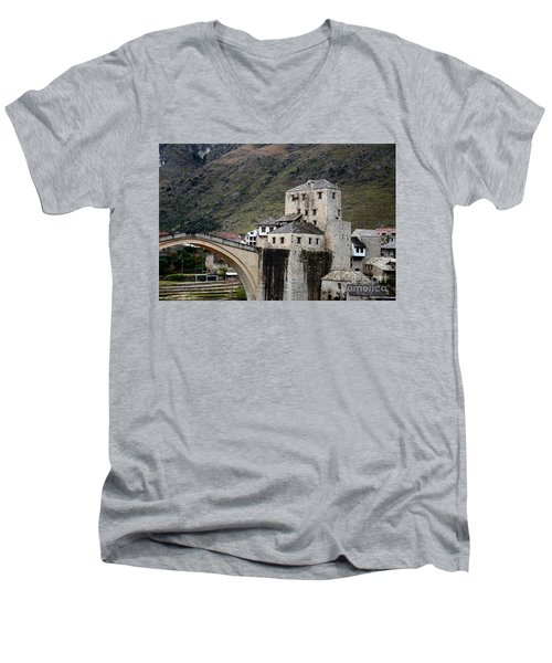 Stari Most Ottoman Bridge And Embankment Fortification Mostar Bosnia Herzegovina Men's V-Neck T-Shirt