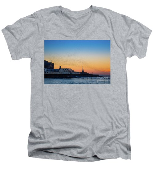 Starlings At Sunset In Aberystwyth Men's V-Neck T-Shirt