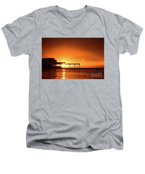 Starlings At Sunset Over Aberystwyth Pier Men's V-Neck T-Shirt