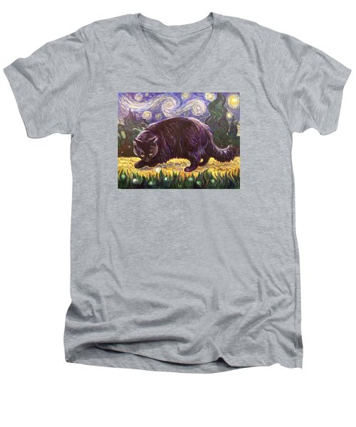 Men's V-Neck T-Shirt featuring the painting Starry Night Stroll by Laura Aceto