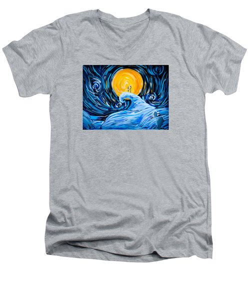Starry Spiral Hill Night Men's V-Neck T-Shirt by Marisela Mungia