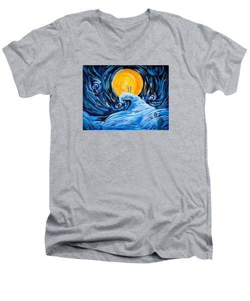 Starry Spiral Hill Night Men's V-Neck T-Shirt