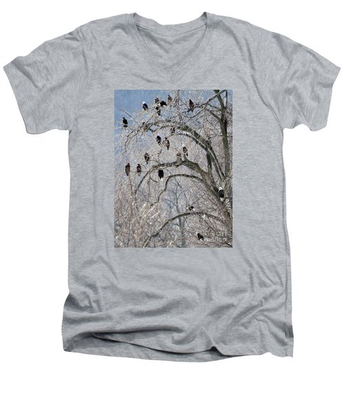 Men's V-Neck T-Shirt featuring the photograph Starved Rock Eagles by Paula Guttilla