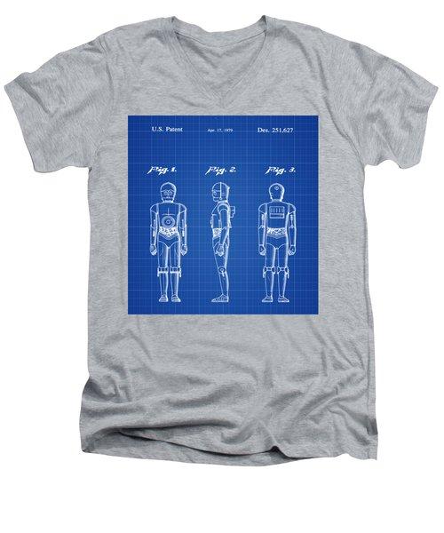 Starwars C3p0 Blue Print Men's V-Neck T-Shirt