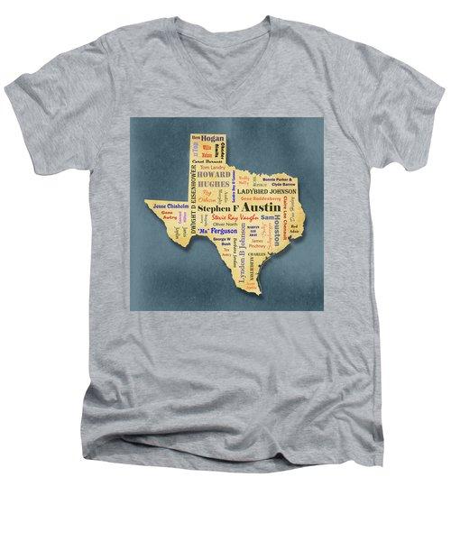 States - Famous Texas Men's V-Neck T-Shirt by Ron Grafe