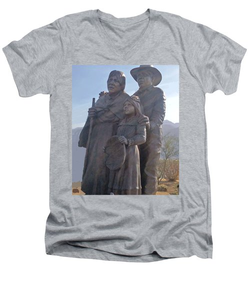 Statuary Dedicated To The American Indian Men's V-Neck T-Shirt by Jay Milo