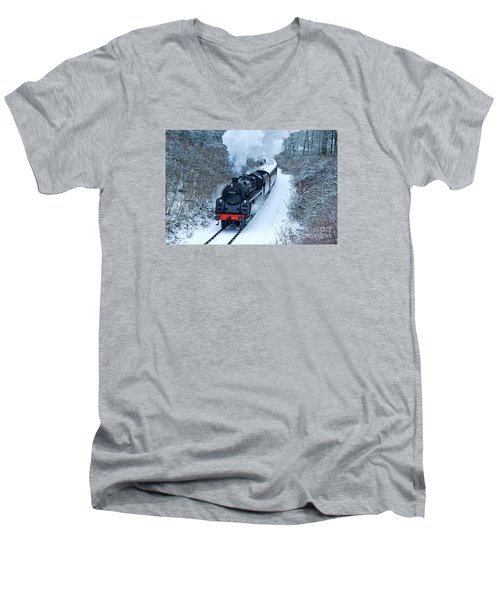 Steam Locomotive 73129 In Snow Men's V-Neck T-Shirt