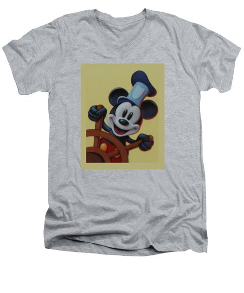 Steamboat Willy Men's V-Neck T-Shirt by Rob Hans