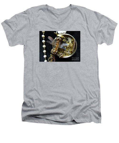 Steampunk Dragonfly Pylon Men's V-Neck T-Shirt by Justin Moore