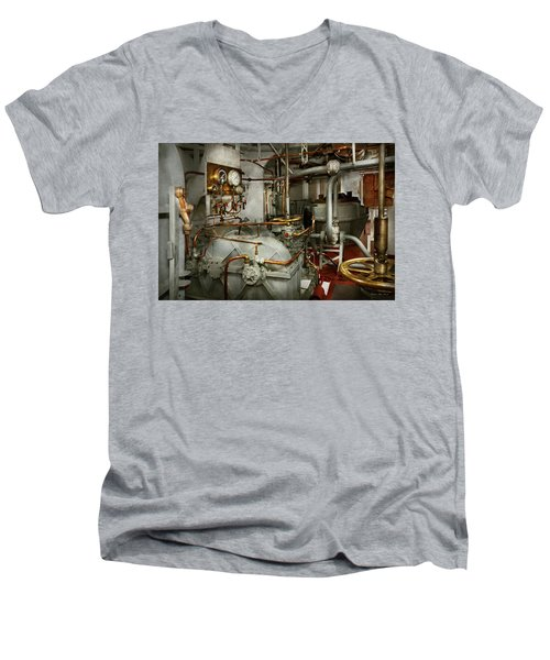 Men's V-Neck T-Shirt featuring the photograph Steampunk - In The Engine Room by Mike Savad