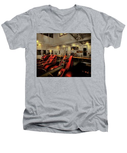 Men's V-Neck T-Shirt featuring the photograph Steampunk - Man The Controls 1908 by Mike Savad