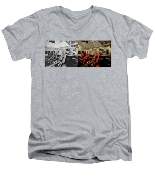 Men's V-Neck T-Shirt featuring the photograph Steampunk - Man The Controls 1908 - Side By Side by Mike Savad
