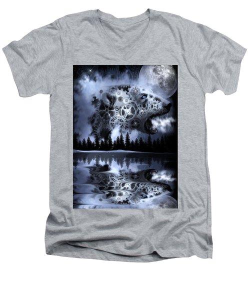 Steampunk Polar Bear Landscape Men's V-Neck T-Shirt