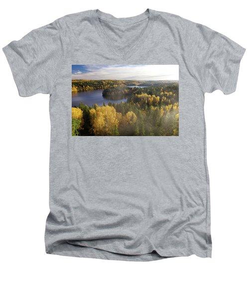 Steamy Forest Men's V-Neck T-Shirt by Teemu Tretjakov