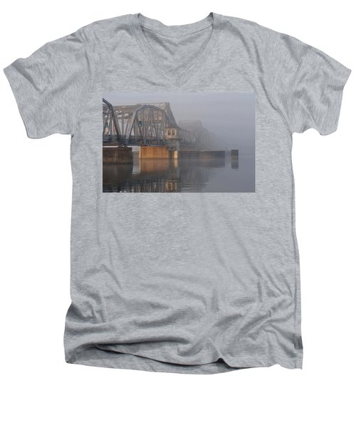 Steel Bridge In Fog Men's V-Neck T-Shirt