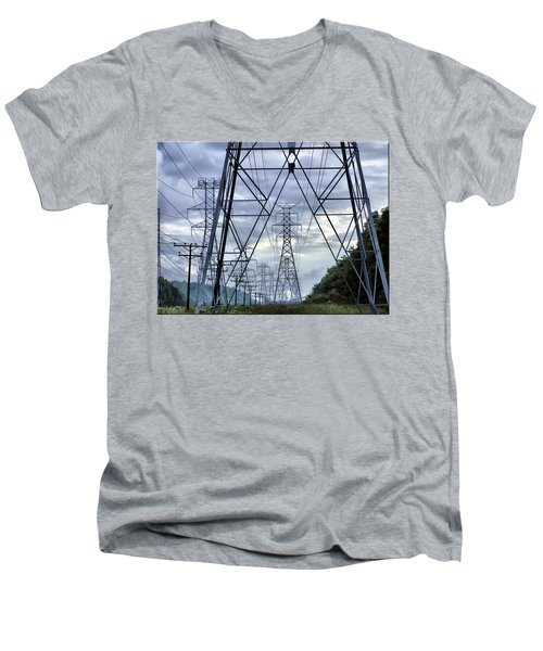 Men's V-Neck T-Shirt featuring the photograph Steel Soldiers Marching To The Sea by Brian Wallace