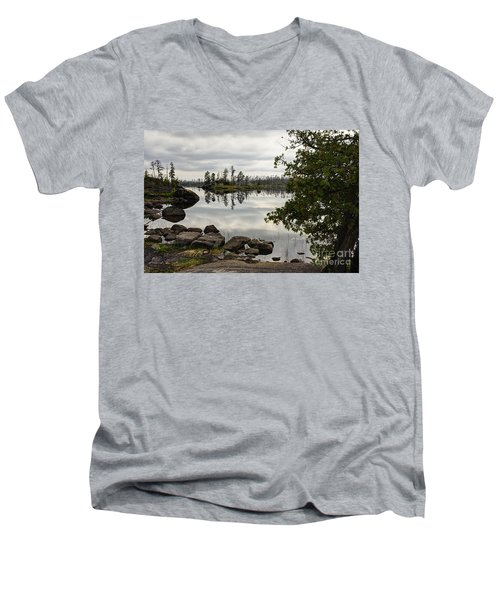 Men's V-Neck T-Shirt featuring the photograph Steely Day by Larry Ricker