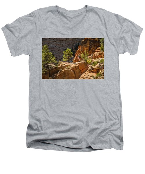 Steeply Up The Canyon Men's V-Neck T-Shirt