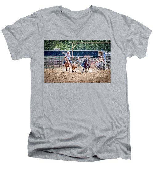 Men's V-Neck T-Shirt featuring the photograph Steer Wrestling With An Audience by Darcy Michaelchuk