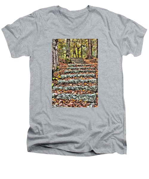 Men's V-Neck T-Shirt featuring the photograph Step Into The Woods by Debbie Stahre