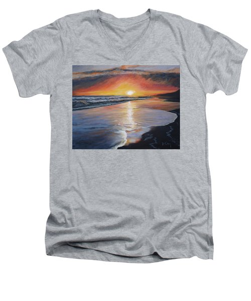 Men's V-Neck T-Shirt featuring the painting Stephanie's Sunset by Donna Tuten