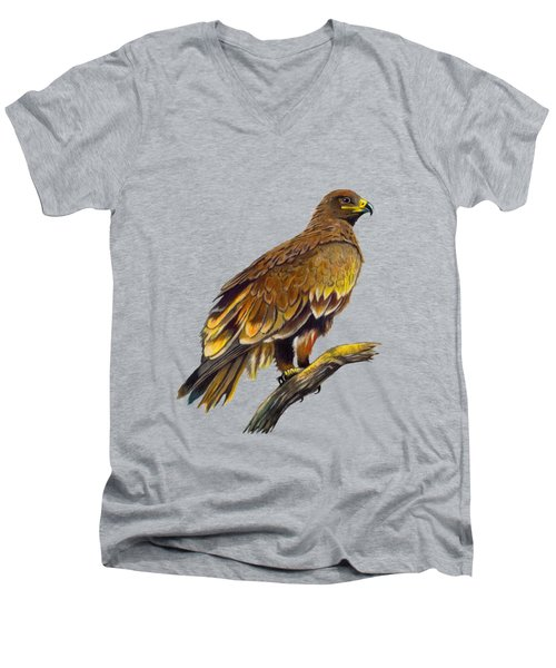 Steppe Eagle Men's V-Neck T-Shirt by Anthony Mwangi