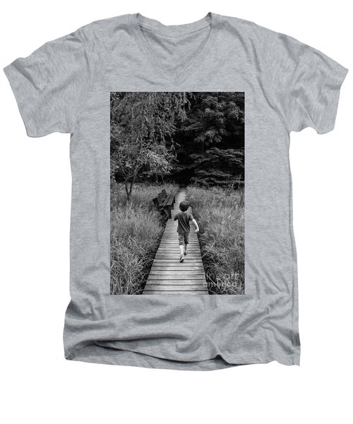 Men's V-Neck T-Shirt featuring the photograph Stepping Into Adventure - D009927-bw by Daniel Dempster