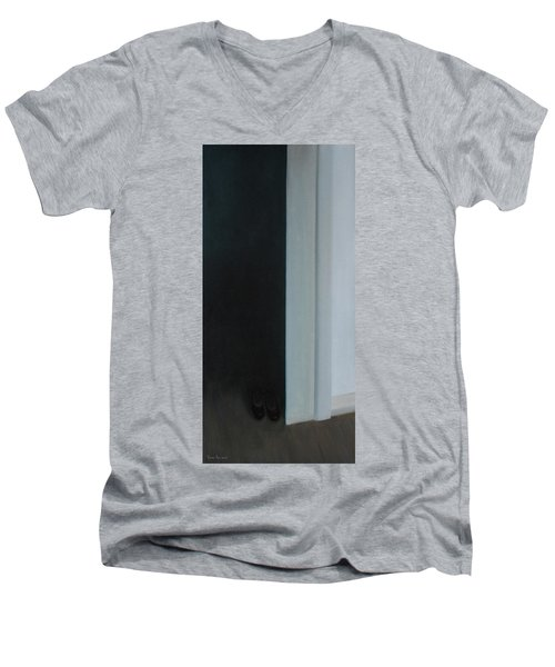 Men's V-Neck T-Shirt featuring the painting Stepping Into The Light? by Tone Aanderaa