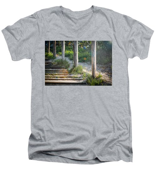 Steps Off The Beach Men's V-Neck T-Shirt