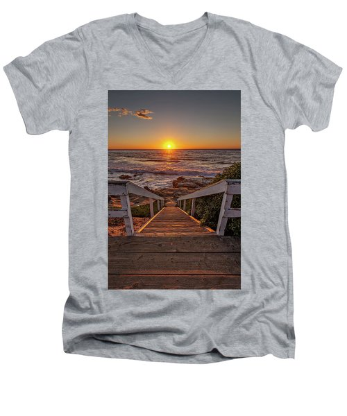 Steps To The Sun  Men's V-Neck T-Shirt by Peter Tellone